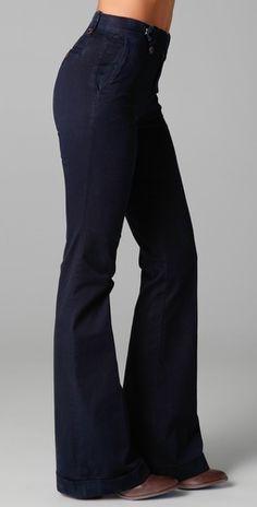 Shopping List ⫸ High-waisted Wide-Leg J Brand Stella High Rise Pants in Marine. | $179.90