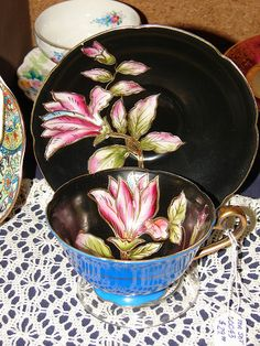 Black Floral Tea Cup And Saucer by Grandma's Corner