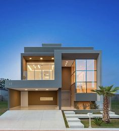 Best Duplex House Elevation Design Ideas India, Modern Style, New Designs Modern Exterior House Designs, Modern House Facades, Modern Villa Design, Dream House Exterior, Modern House Plans, Exterior Design, Contemporary Design, Bungalow Haus Design, Luxury Homes Dream Houses
