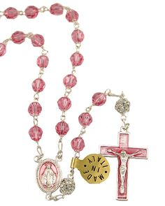 Pink Swarovski #Crystal #beads Rosary with Sterling Silver links, Crystal Ball Our Father beads, Pink Enameled Miraculous center and a Pink enameled Crucifix. This Rosary can be worn. Made in Italy.(sku 4-1647p)