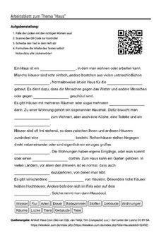 """Arbeitsblatt mit Lückentext zum Thema """"Haus"""""""