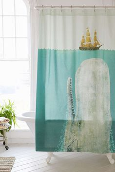 This Moby Dick-inspired shower curtain. | 27 Adorable Things You Need If You Love Whales