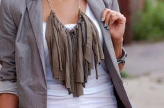 DIY Statement Necklaces - cutting T-shirt strands, knotting onto chain - you could do glittery fabric too!