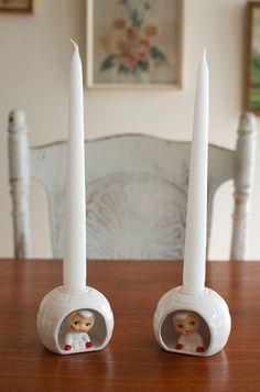 Vintage Mid Century Holt Howard Pixie Snow Babies Igloo Candle Holders