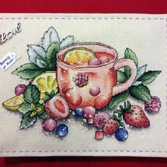 "Finished work by pattern ""Berry tea"" #sa_stitch #sa_pattern #pattern #crossstitch"