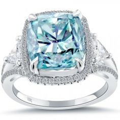 7.20 Carat Fancy Blue Cushion Cut Diamond Engagement Ring 18k White Gold - Fancy Color Engagement Rings - Engagement - Lioridiamonds.com