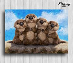 finding dory otters print nursery art animal otter painting disney pixar
