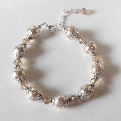 Beige Wedding Jewelry Pearl Set Beaded Champagne by FiveLittleGems