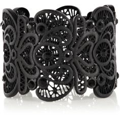 OASIS Matt Lace Bracelet (37 BAM) ❤ liked on Polyvore featuring jewelry, bracelets, accessories, black, bijoux, stretchy bracelet, black lace bracelet, black bangles, black bracelet and stretch bracelet