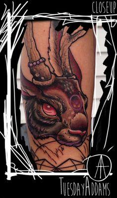 Jackalope Tattoo Closeup