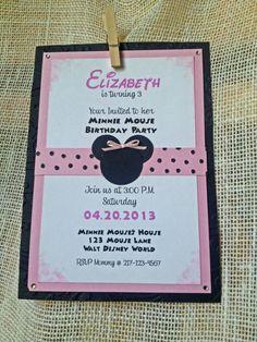 Handmade Minnie Mouse Birthday Invitation by PersonallyHandmade, $2.25