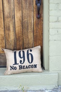 Custom House Number Charley Burlap Pillow by kijsa on Etsy, $32.00