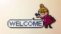 郁美が作ってくれたミィ♡ 早速ドアに貼り付けた(´∀`*)♡ かわいー♡ありがとー♡  #アイロンビーズ #ironbeads #handmade #手作り #ミィ #ムーミン #littlemy #Muumin