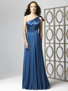 I love this #Ocean Blue One Shoulder Satin Full Length [Bridesmaid] #Dress $185