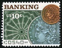 """The first of the two """"Banking and Commerce"""" stamps focused attention on the important role that banking and commerce played in the development of the United States."""