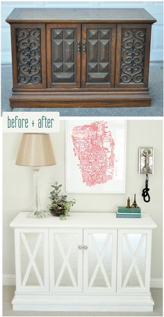 I'm in complete awe over this $10 cabinet makeover. Seriously impressive! #DIY #cabinet #makeover Courtesy of Centsational Girl!