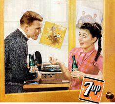 7-up vintage ad detail, 1959