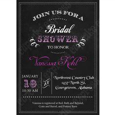 Bridal Shower Chalkbaord 2 PRINTABLE Invitation 5x7 grey white pink wedding shower