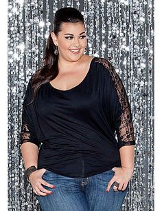 A little sweet, a little sexy and a whole lot of style! This plus size jersey knit top with lace detail is a comfortable and chic top for a glam look. sonsi.com