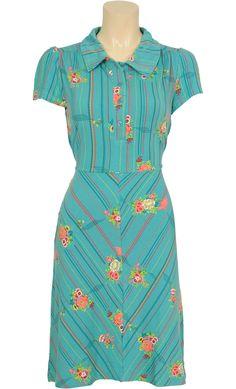 Delia Polo dress Azure - 30% - Retrojurk - groot aanbod jaren 30, 40, 50 & 60 retrojurken