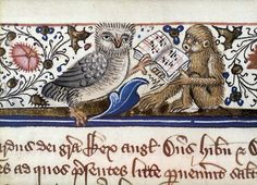 medieval:    Owl holding open music book supported by ape singing.  15th C.  Ms. Hatton 10 (via)