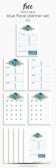 Free Printable Blue Floral Planner Calendar Inserts and Personal Size Hanna Nilsson Design newsletter subscription required Printable Planner Pages, Free Planner, Blog Planner, Planner Stickers, Free Printables, Planner Template, Planner Ideas, Planner Inserts, Planner Organization
