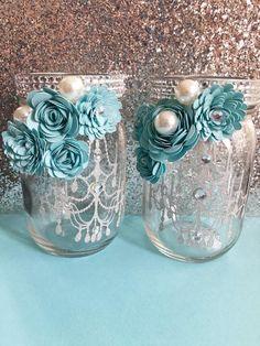 Items similar to Paper Flower Jars - Tiffany on Etsy Mason Jars, Bottles And Jars, Mason Jar Crafts, Bottle Crafts, Flowers In Jars, Diy Flowers, Paper Flowers, Flower Jars, Diy Home Crafts