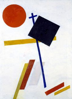 Suprematism was an art movement that focused on basic geometric forms and I feel the painting linked above clearly shows the influence of Suprematism.