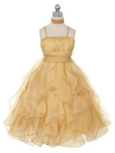 Gold Lovely Pleated Rhinestone Waist Ruffled Flower Girl Dress (Available in 9 Colors in Sizes 4-14)