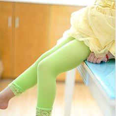 3~12 Y Girls Lace Leggings Summer Short Velvet Cropped PantsToddler Kids Candy Color Bottoms For Girl Children's Apparel CI005