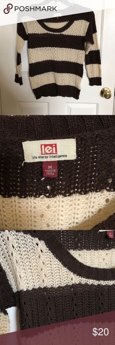 L.e.i Striped Sweater! brown and cream striped sweater! So cozy and nice for winter going into spring! Very good condition! lei Sweaters