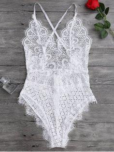 $14.74 Scaolloped Sheer Eyelash Lace Teddy Bodysuit - WHITE M
