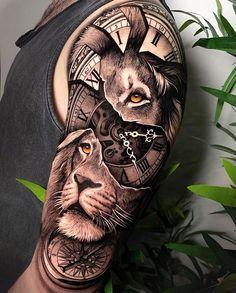 African Sleeve Tattoo, Tiger Tattoo Sleeve, Lion Tattoo Sleeves, Skull Sleeve Tattoos, Sleeve Tattoos For Women, Cat Tattoo, Tattoo Life, Daddy Tattoos, Lion Head Tattoos