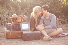 A romantic, indie-chic, travel lovers engagement shoot on the beach