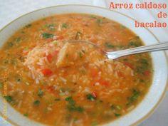 Arroz caldoso de bacalao con y sin Thermomix Bacalao Recipe, Rice Recipes, Healthy Recipes, Latin Food, Empanadas, Sin Gluten, Risotto, Deserts, Curry