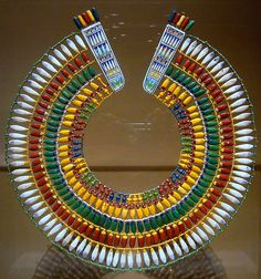 Broad Beaded Collar (ancient Egyptian necklace of faience beads)...obviously not Egyptian Revival as it's the real deal....AMAZING DESIGN....truly timeless! This design has spawned countless Egyptian Revival jewelry collections.