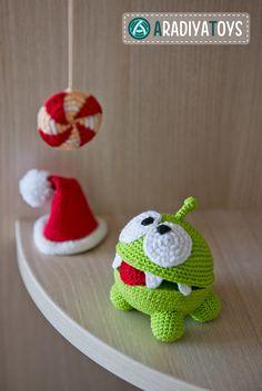 Crochet Pattern of Om Nom from Cut the Rope Amigurumi by Aradiya