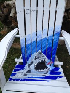 Anarondac Chairs Painted Adirondack Chair with Seagulls on a Pier - the ...