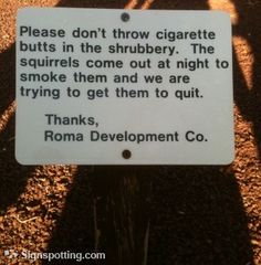 "Ha ha ha!   ""Please don't throw cigarette butts in the shrubbery.  The squirrels come out at night to smoke them and we are trying to help them quit..."""