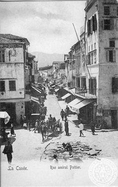 Crete. La Canee; rue amiral Pottier. Old Pictures, Old Photos, Vintage Photos, Tree Identification, Crete Island, Greek History, Crete Greece, Old Maps, Past