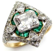 Marcus and Co emerald and diamond ring, circa 1910. Via Diamonds in the Library.
