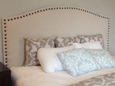 DIY Drop Cloth Upholstered Headboard with Nailhead Trim {Pottery Barn inspired} 36 Life-Changing DIY Furniture Makeovers Amazing DIY Home Decor Craft Ideas, You Can Easily Complete Cloth Headboard, Headboard Benches, Queen Headboard, Wall Headboard, Diy Throw Pillows, Bed Pillows, Headboard Designs, Headboard Ideas, Headboard Makeover