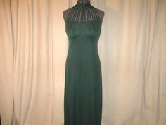 Vintage 70s Boho Hippie Green Strappy Knit Maxi Dress Small by SavvyFlair on Etsy