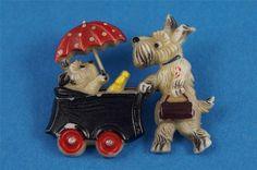 Vintage Jewelry, Antique Jewellery, Jewelry Box, Pins Badge, Gutta Percha, Antique Brooches, Scottish Terrier, Art Deco, Doge
