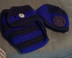 Size 3-6 month diaper cover and matching beanie. $16