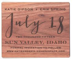 Engraved Wood Save the date Designed by: Paper Moxie Ink Stamps, Save The Date Designs, Name Badges, Fort Collins, Save The Date Cards, Dates, Invitations, Wood