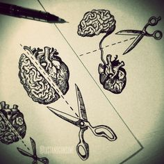 But instead of scissors there's a knot going from to heart to the brain