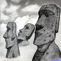 how to draw easter island heads, moai statues step 16