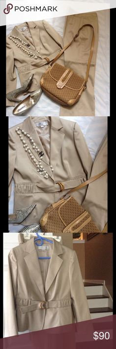 "NEW LISTING TAHARI office suit Used only once this suit is gorgeous the color is more taupe / dark cream pants are 39"" long 32"" waist and 29"" inseam THE jacket is 23"" long 38"" at the bust line and sleeves 23"" long fully lined the attached belt remind me Gucci bamboo logo Tahari Other"