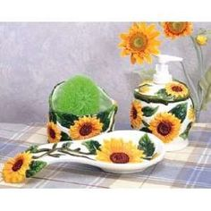Sunflower Kitchen Decor Sunflower Kitchen Decor Spoon Rest Soap Pump Scrubby Nw